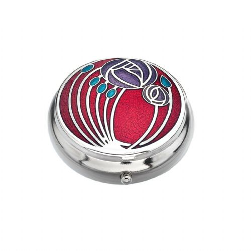 Pill Box Silver Plated Mackintosh Multi Rose Roses Red Brand New and Boxed